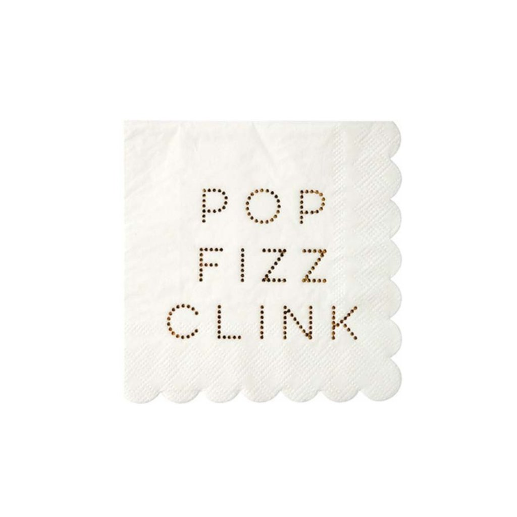 GOLD POP FIZZ CLINK COCKTAIL NAPKINS