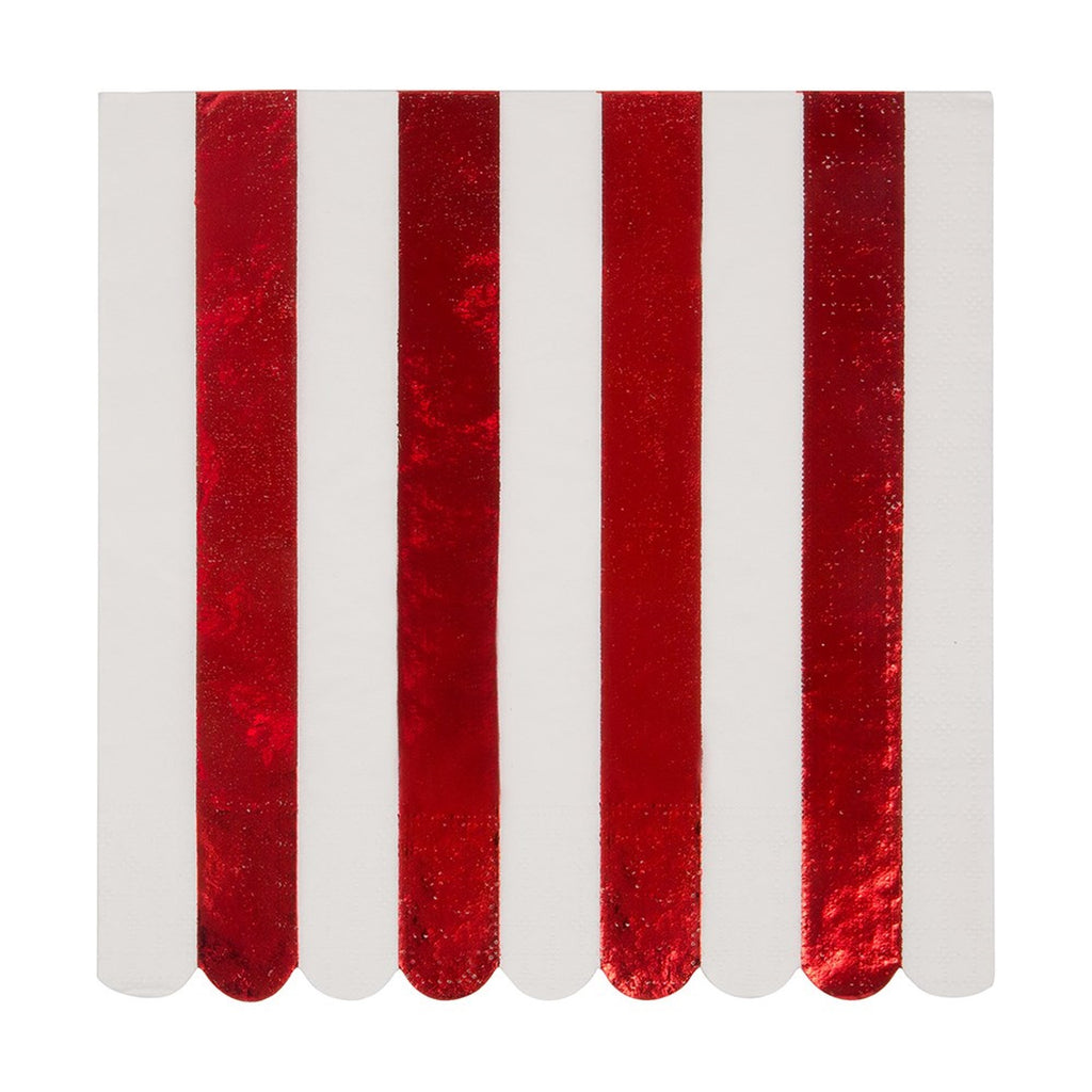 RED STRIPE FOIL LARGE NAPKINS