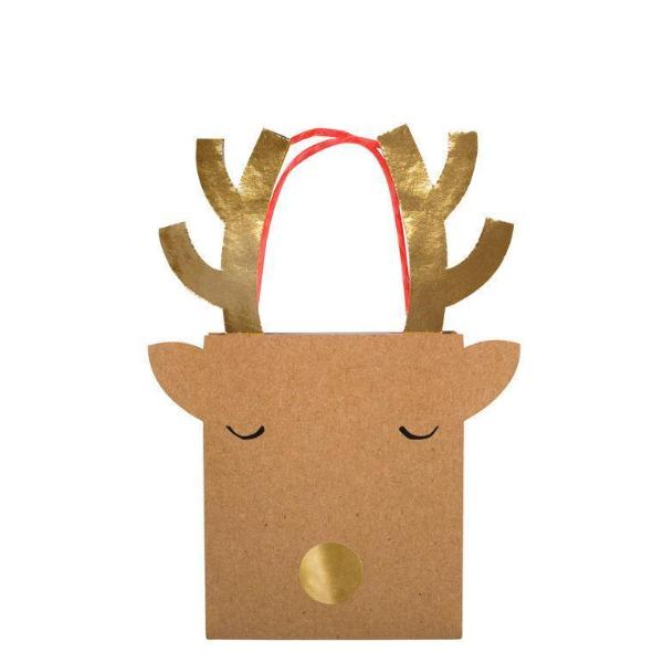 REINDEER SMALL GIFT BAGS - SET OF 2