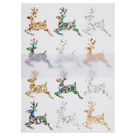 GLITTER LEAPING REINDEER STICKERS