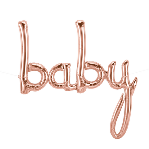 BABY SCRIPT ROSE GOLD 31""