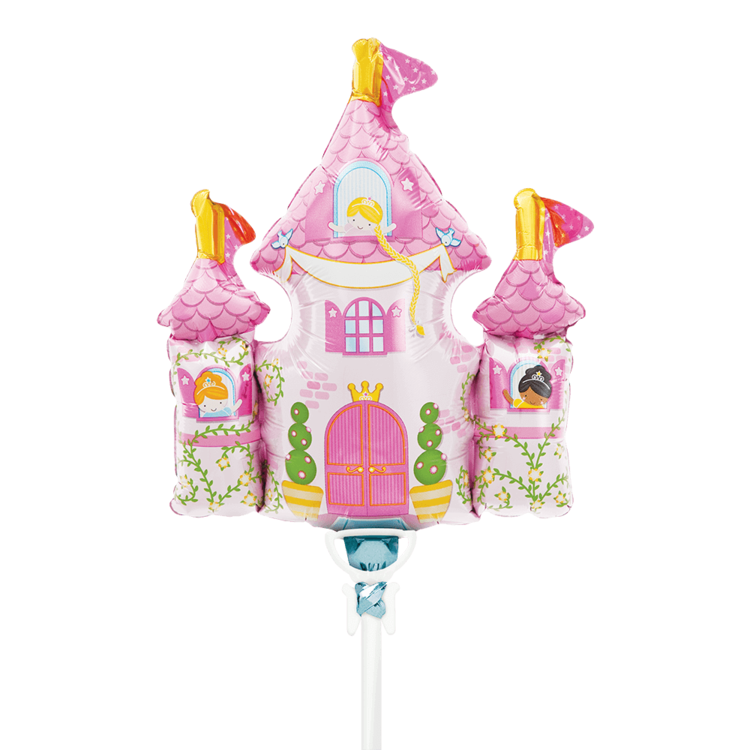 "PRINCESS CASTLE MYLAR BALLOON 14"" WITH STICK"