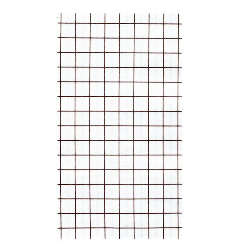 BLACK AND WHITE GRID DINNER NAPKINS