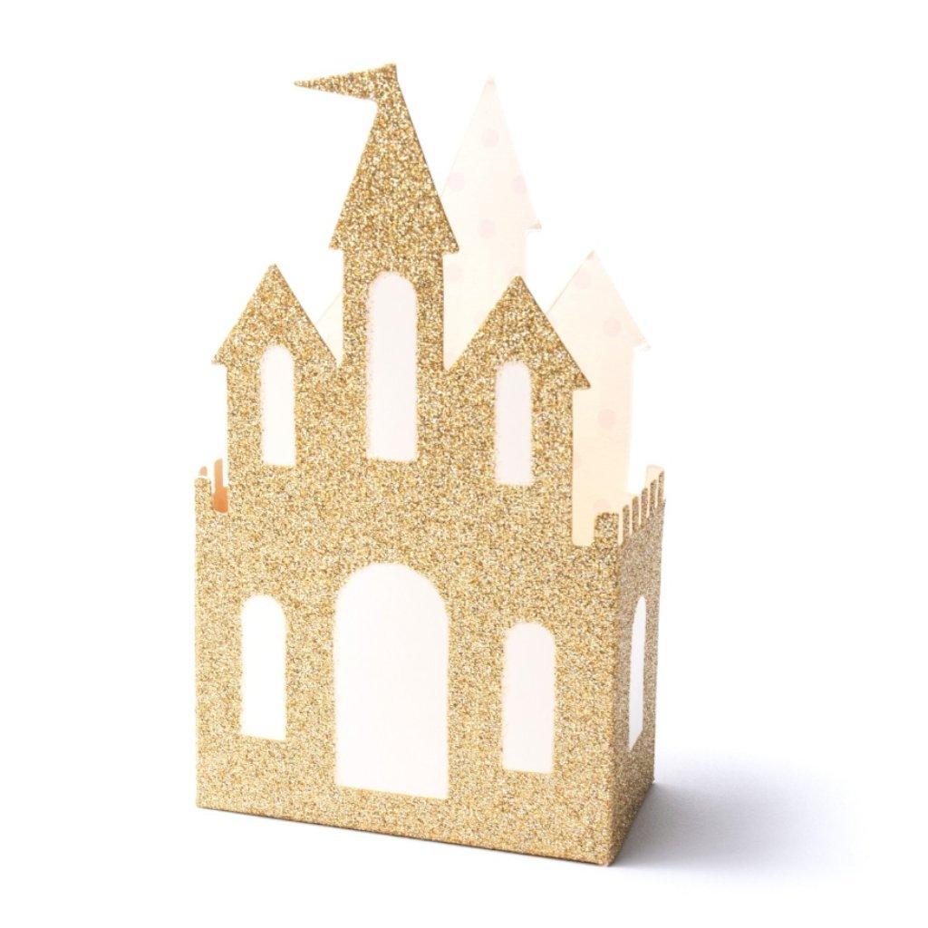FAVOUR BOXES - GOLD GLITTER PRINCESS CASTLE