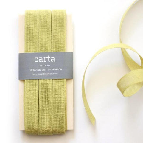 LOOSE WEAVE COTTON RIBBON - CHARTREUSE