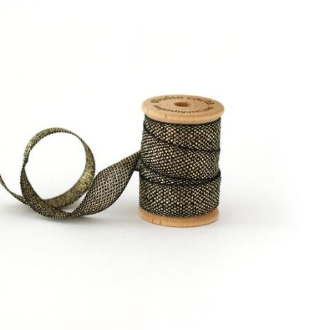 METALLIC LOOSE WEAVE COTTON RIBBON - BLACK AND GOLD