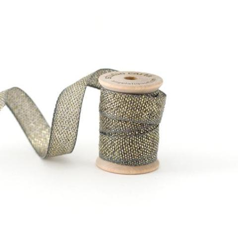 METALLIC LOOSE WEAVE COTTON RIBBON - GRAVEL AND GOLD
