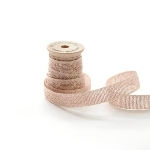 METALLIC LOOSE WEAVE COTTON RIBBON - NATURAL AND ROSE GOLD