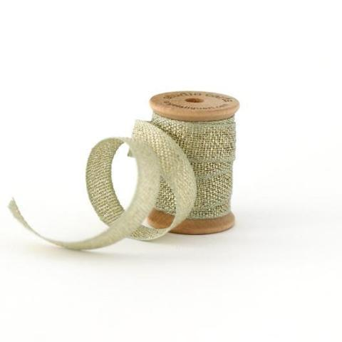 METALLIC LOOSE WEAVE COTTON RIBBON - SAGE AND GOLD