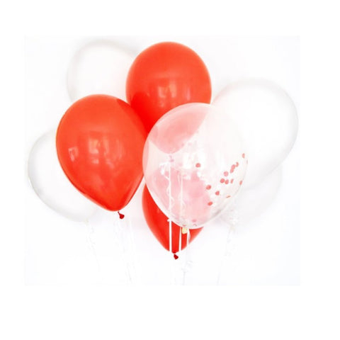 PARTY BALLOONS - RED AND WHITE MIX