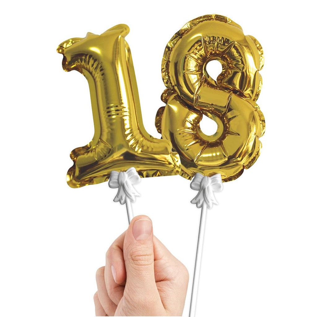GOLD NUMBER MINI BALLOON TOPPERS