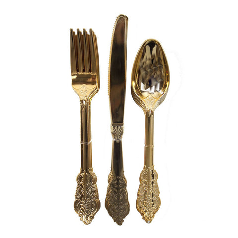 ORNATE PLASTIC CUTLERY SET - GOLD