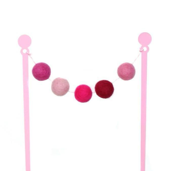 CAKE TOPPER - PERFECTLY PINK FELT BALL BUNTING
