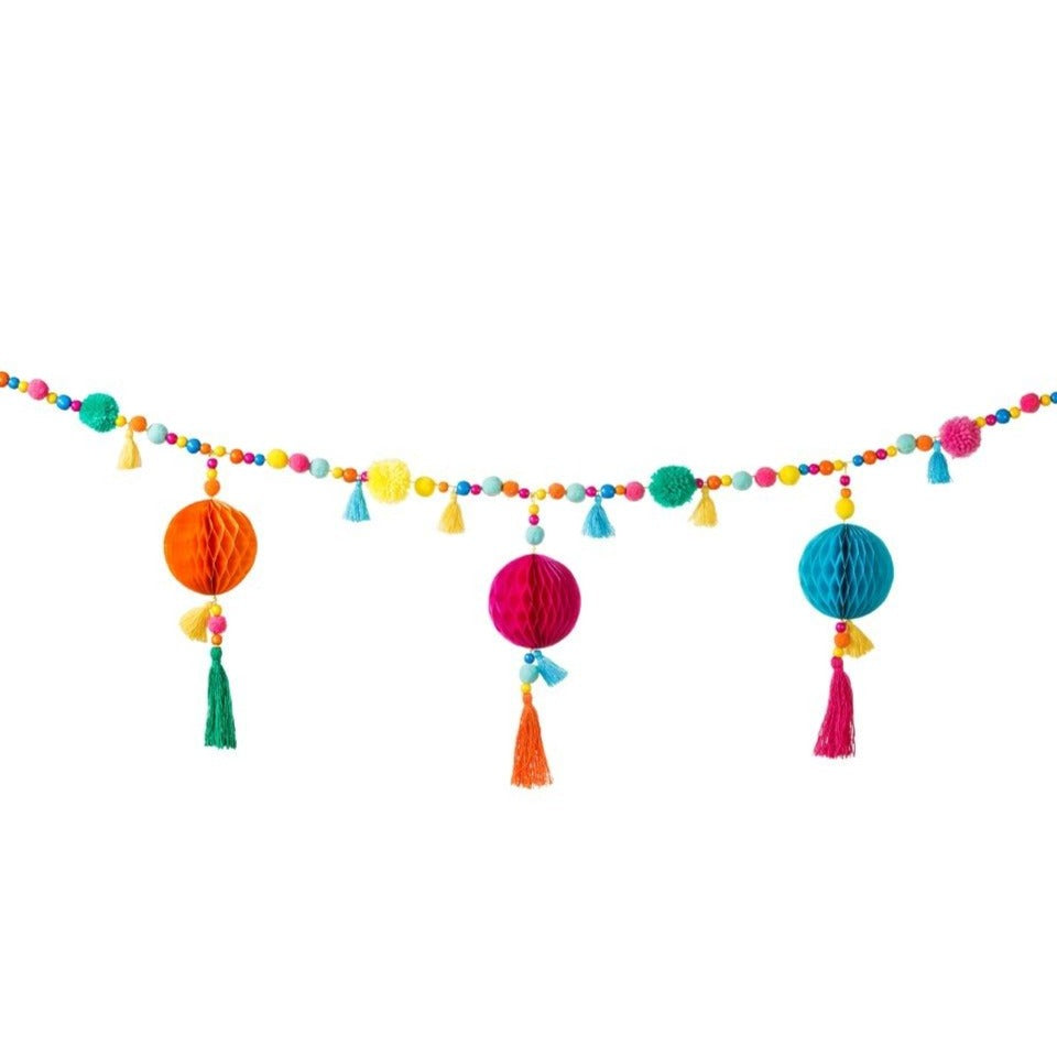 Fiesta Pom pom and wooden bead tassel garland