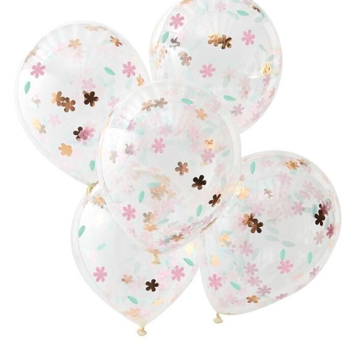 ROSE GOLD AND PASTEL FLORAL CONFETTI BALLOONS
