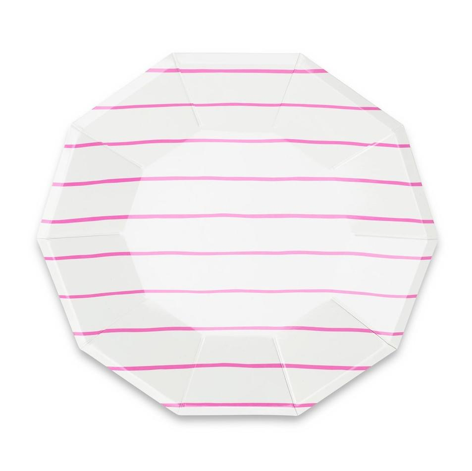 FRENCHIE CERISE STRIPED LARGE PLATES