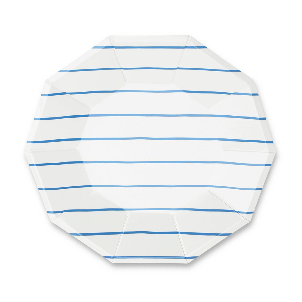 FRENCHIE STRIPED COBALT LARGE PLATES