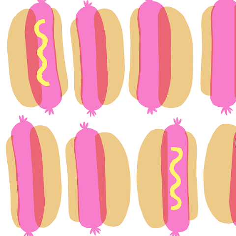 HOTDOGS NEWSPRINT WRAPPING PAPER FLAT PACK