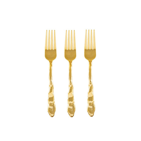 PREMIUM ROCK APPETIZER FORKS - GOLD
