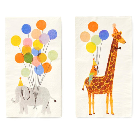 Party Animals Dinner Napkins with balloons