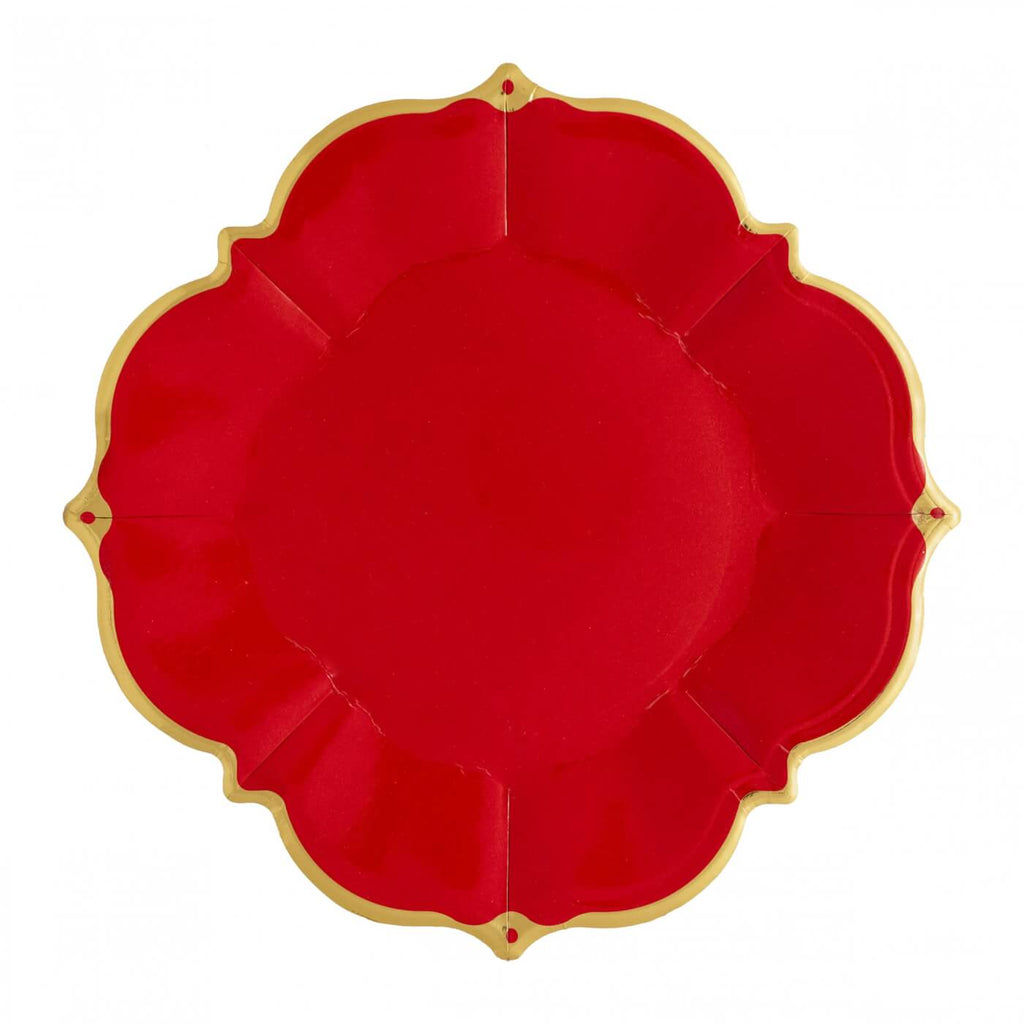 RED SCALLOPED LUNCHEON PLATES