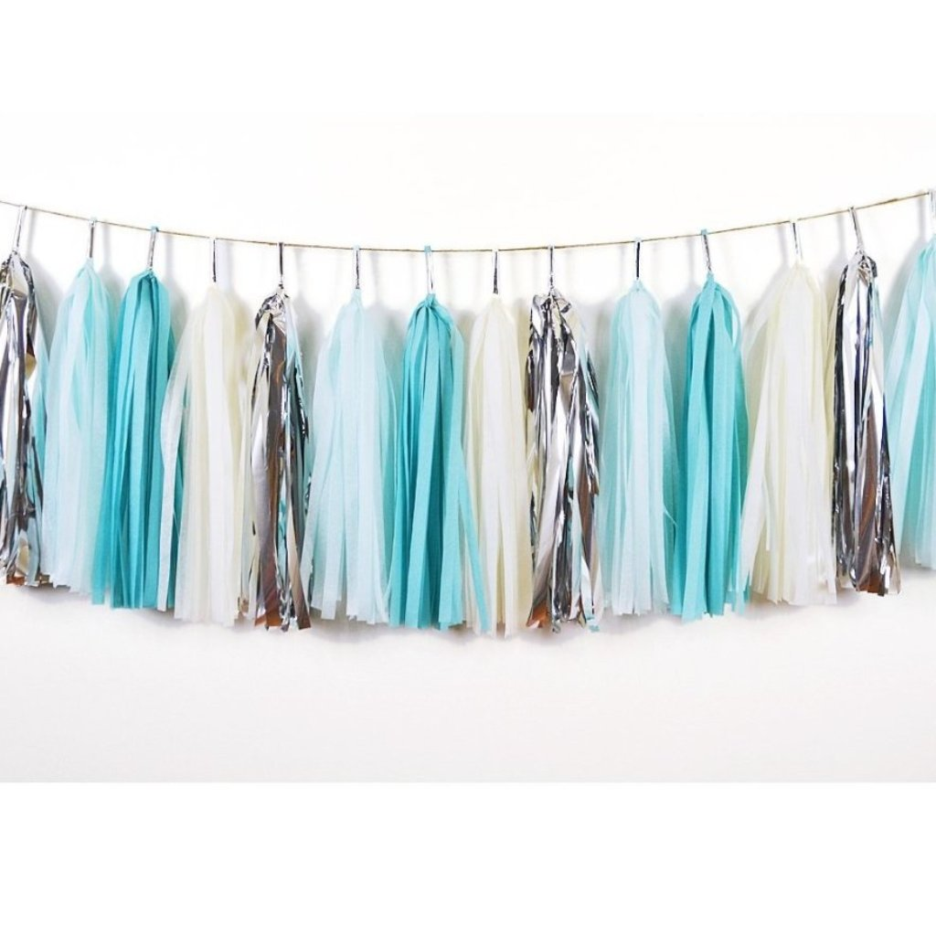 TASSEL GARLAND - BLUE AND SILVER