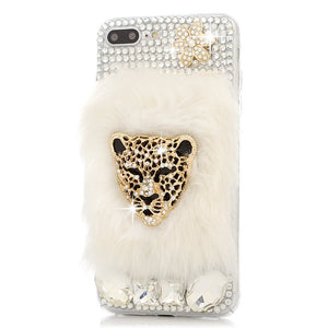 Handmade Crystal Luxury Leopard Head with Rabbit Fur - X-Tronikz