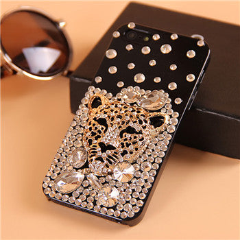 Handmade Black Leopard Head Crystal Cases - X-Tronikz