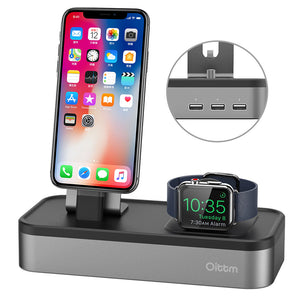 Iphone & Apple Watch Stand With 3-Port USB Ports