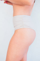 The Michelle Nude Ruched High-Waisted Bikini Bottom