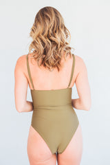 The Tiffany Olive Lace-Up One Piece Swimsuit