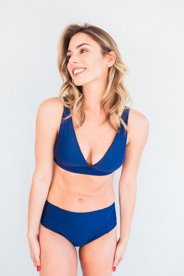 The Meghan Navy High-Waisted Bikini Bottom