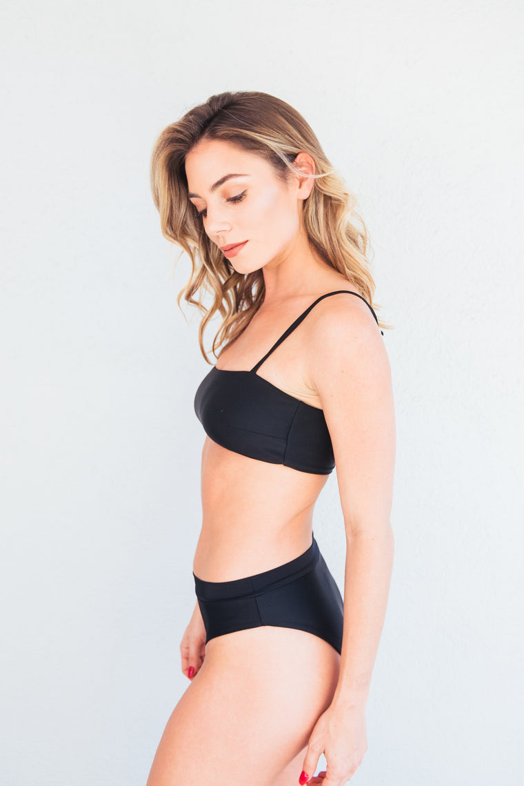 The Ava Black Banded Bikini Bottom