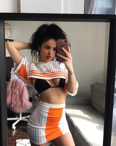 Orange Striped Adidas Arch Crop
