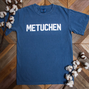 "Short Sleeve Tshirt - ""Metuchen"" in Block Lettering"
