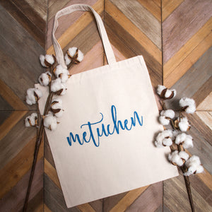 "Canvas Bag - ""Metuchen"" in Script Lettering"