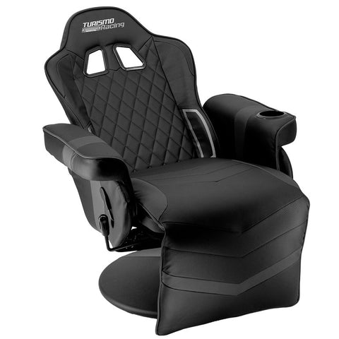 Black and Silver Stanza Gaming Recliner
