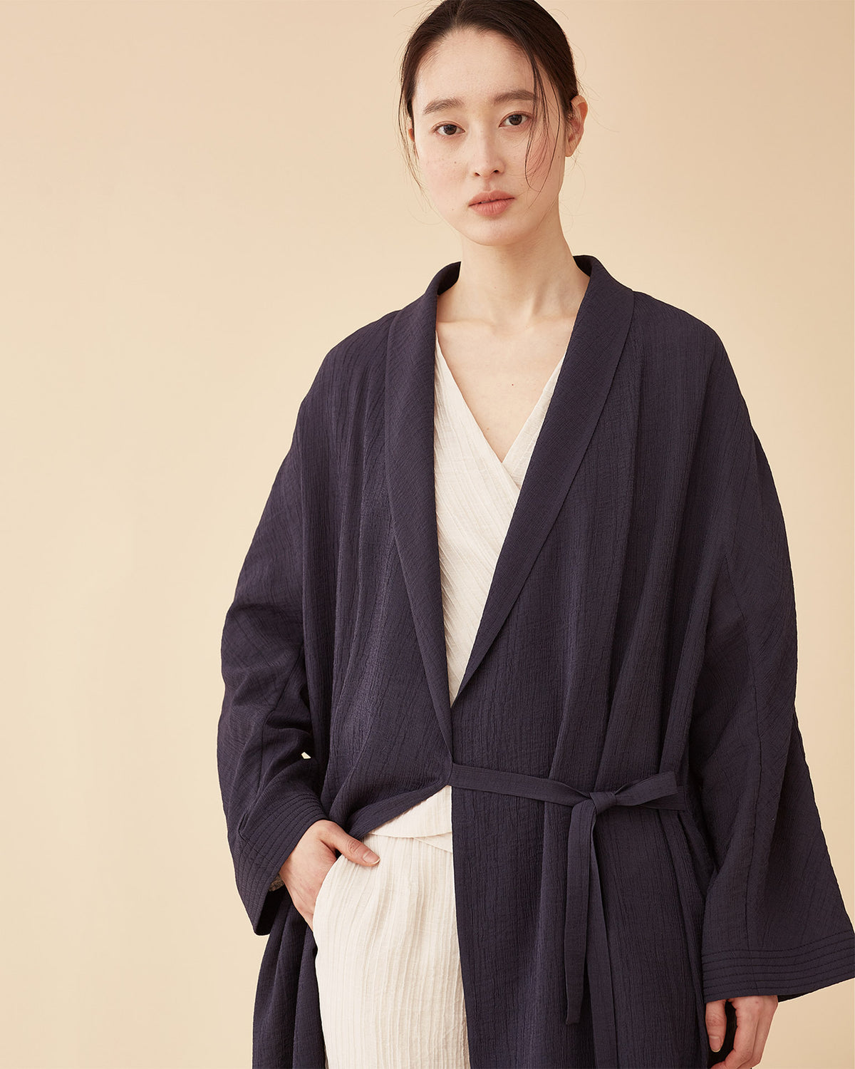 George Shawl Collar Robe / Navy