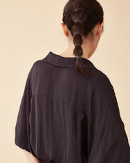 Classic Spread Collar Top / Navy