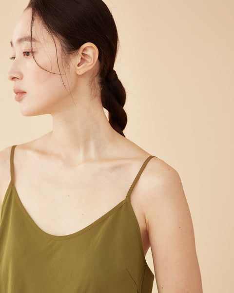 Caroline Long Slip Dress / Olive Green