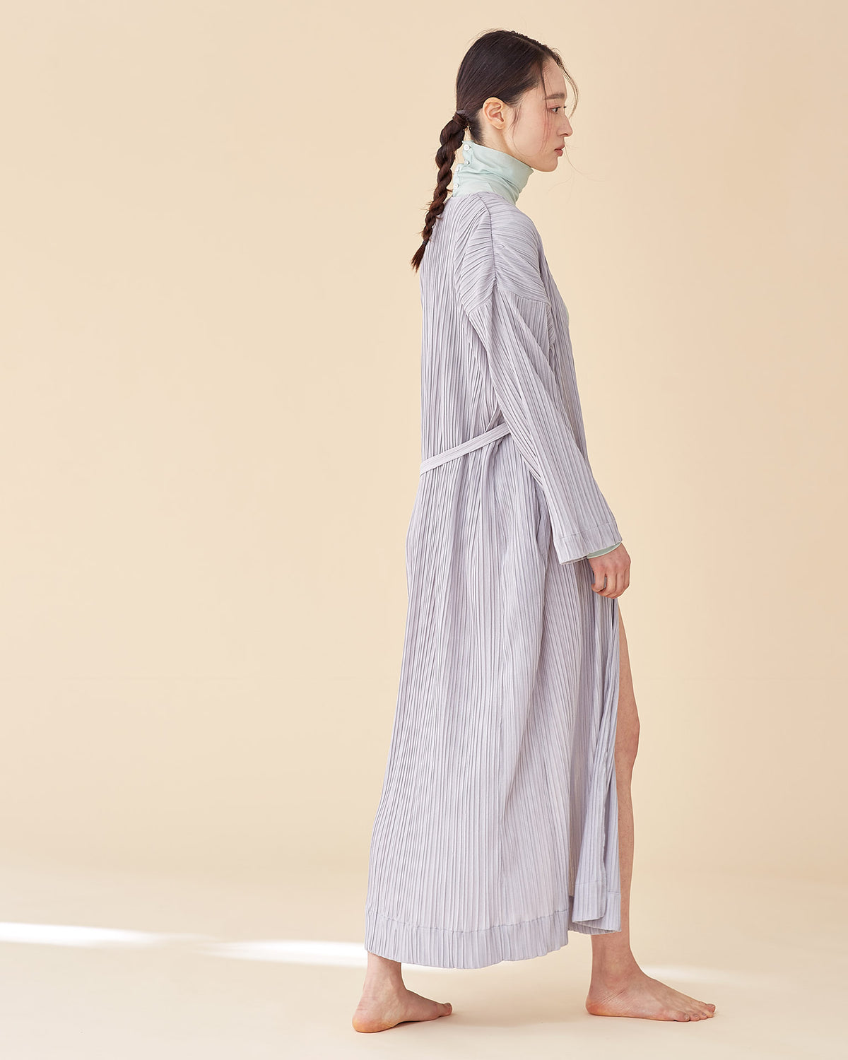 Laura Pleates Robe / Light Grey