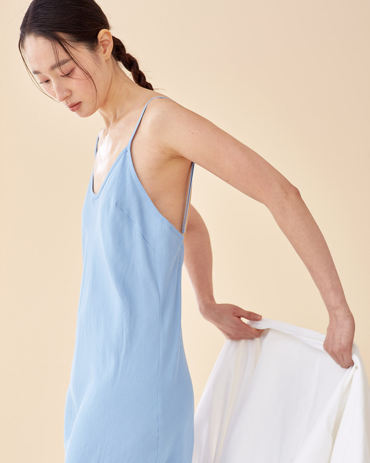 Caroline Long Slip Dress / Sky Blue
