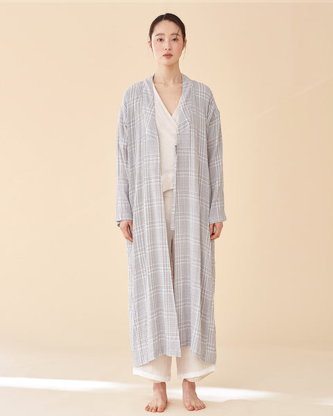 Plaid Long Multi-strap Robe
