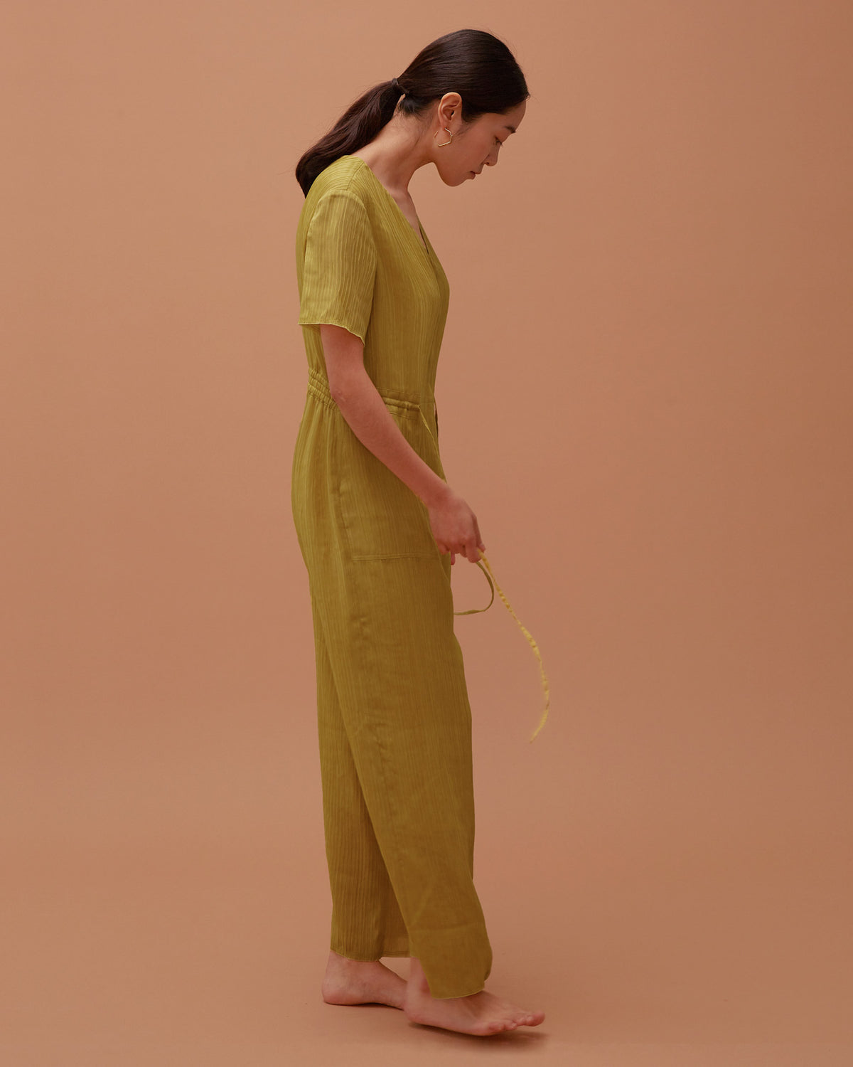 Ola Pleats Jumpsuit / Mustard Green
