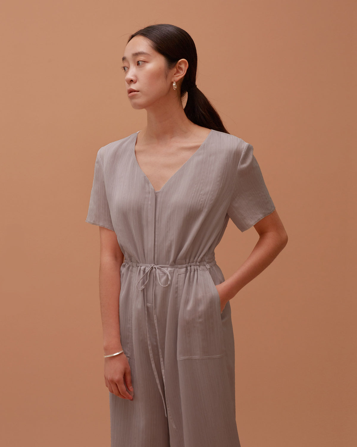 Ola Pleats Jumpsuit / Grey