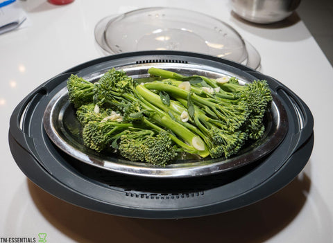 Thermomix® Recipe Steamed Broccolini with Cashews
