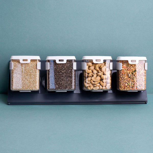 Large MoBin Spice Containers with Mounting Rail - set of 4
