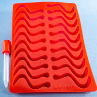 Silicone Gummy Snakey Worms Mold with Dropper