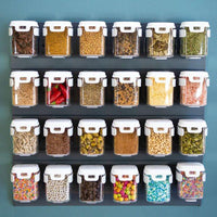 MoBin Standard Sized Spice Containers with Mounting Rack - set of 6