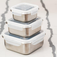 Thermomix®Stainless Steel Food Storage Containers with Leak Proof Lids (Set of 3 )